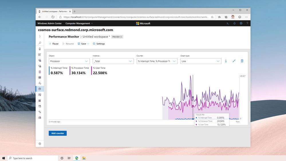 نمودارها در Performance monitor جدید