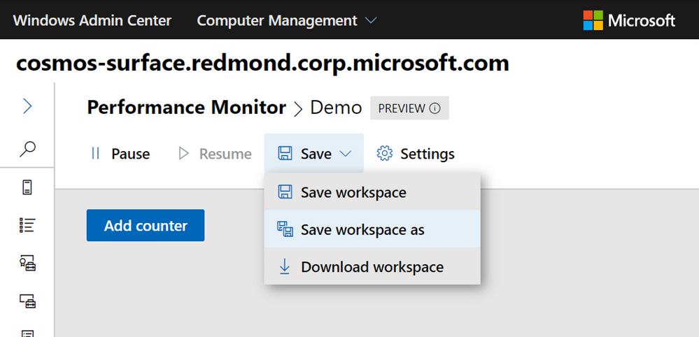 ذخیره ورک شیت در Performance Monitor جدید