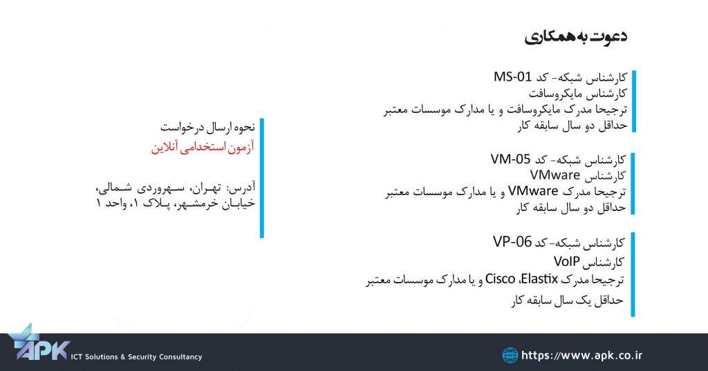 استخدام کارشناس شبکه مجازی سازی مایکروسافت VoIP