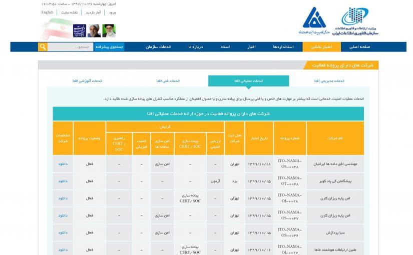 دریافت ۲ پروانه فعالیت در نظام ملی مدیریت اطلاعات (نما)